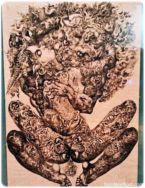 ภาพเขียนลายเส้นหมึกดำ ของศิลปินแห่งชาติ ถวัลย์ ดัชนี